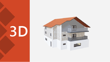 Screenshot of a 3D PowerPoint template cover with a house design