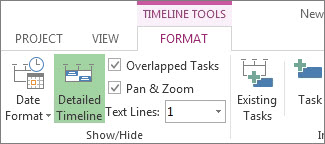 Timeline Tools Format tab in Project