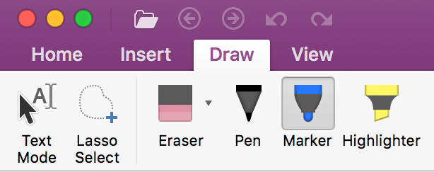 Drawing and writing tools on the Draw tab