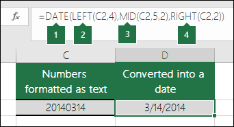 Convert text strings and numbers into dates
