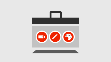 Toolbox with video, pencil, and art palette symbols