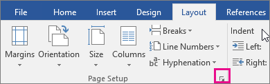 The arrow that launches the Page Setup dialog is highlighted
