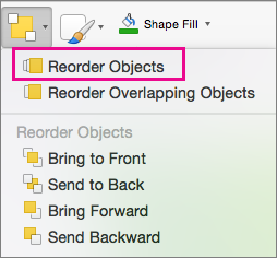 Reorder Objects on the Arrange menu