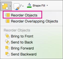 Reorder Objects on the Arrange menu