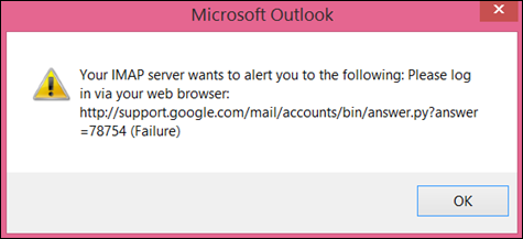 "If you get the error message ""Your IMAP server wants to alert you to the following"" check that you've set Gmail less secure settings to Turn on so Outlook can access your messages."