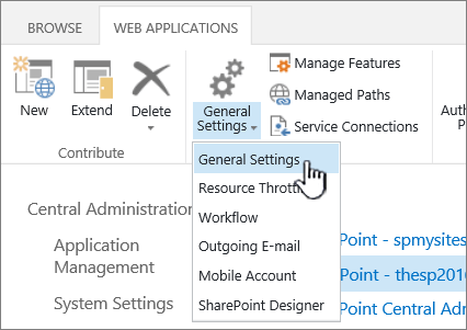 Manage section of ribbon with General settings selected
