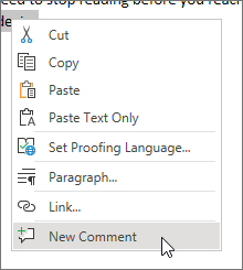 Choose New Comment on the context menu
