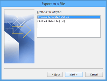 Outlook Export Wizard - Choose CSV file image