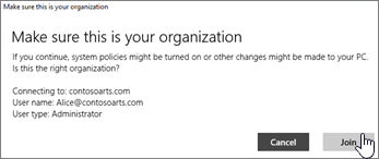 On the Make sure this is your organization screen, click Join