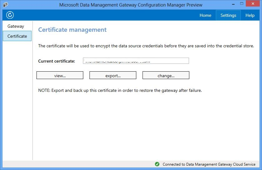 Data Management Gateway Configuration Manager - Certificate Management Page