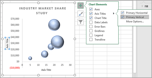 Present your data in a bubble chart - Excel