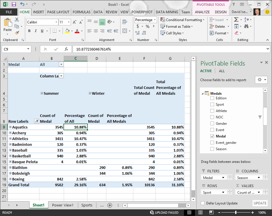 PivotTable displays percentage data