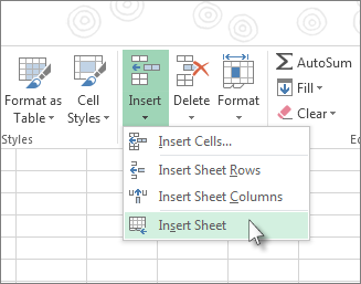 Click Insert Sheet under Insert on the Home tab