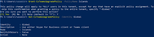 A prompt when running Grant-CsTeamsUpgradePolicy and enter Y to confirm