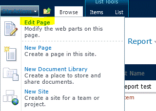 Edit Page command on Site Actions menu