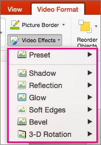 Shows the Video Effects menu in PowerPoint 2016 for Mac