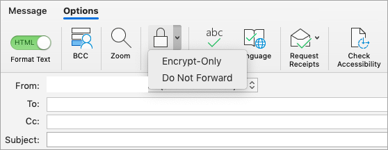 Showing Encrypt button in an email message