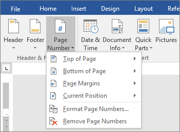 The Page Number options are shown in a list.