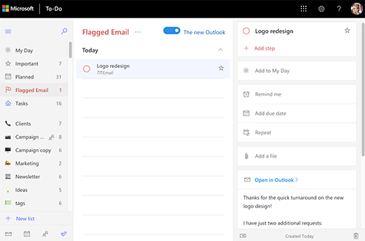 Screenshot of the the Flagged Email list open and showing the detail view of the task Logo redesign. In the detail view there is the option to Open in Outlook as well as a preview of the email text.