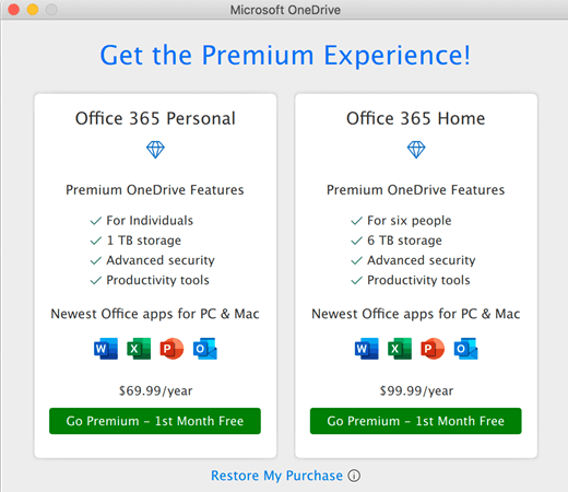 Screen shot of OneDrive Get the Premium Experience dialog box