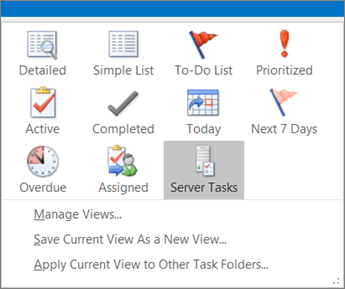 Click Tasks, and choose an option in Current View.