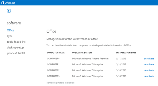 Managing Office 365 active installations