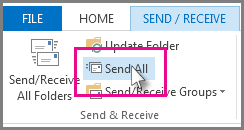 The Send All button in Outlook 2013