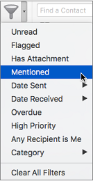 Use Mentioned on the Filter Email menu to search for emails where you're @mentioned