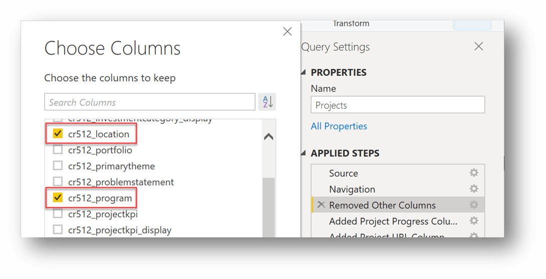 This is an example of how to choose columns to add in query editor. The columns being added in this example are called cr512_location and cr512_program.