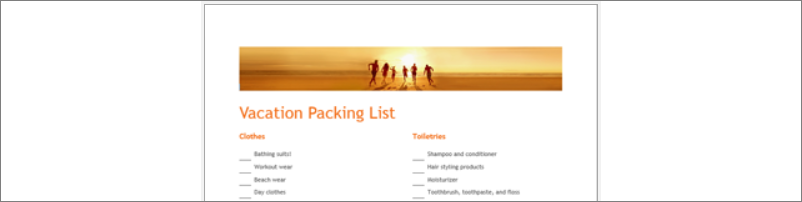 Top portion of a checklist showing photo of people silhoutted in sunshine on a beach