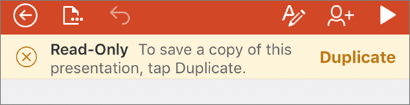 Shows the Read-Only notification after opening an ODF file in PowerPoint for iPhone