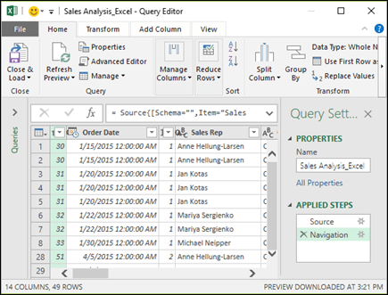 Power Query Editor pane