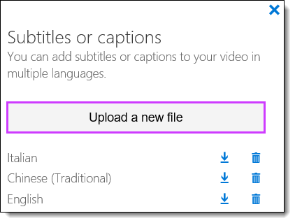 Office 365 Video Subtitles List