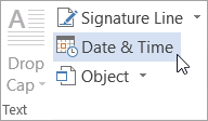 Selecting Date & Time on the Insert tab