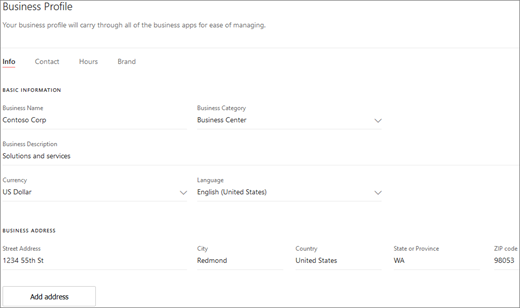 Screenshot: Business profile overview page