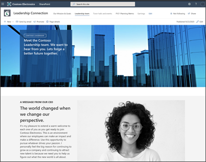 Image of the pages on the leadership site template