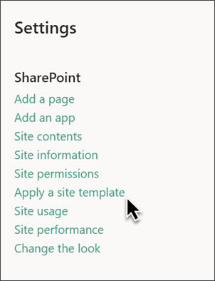 Image of the SharePoint settings panel with Apply site template highlighted