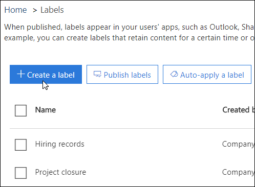 Options to publish or auto-apply a label
