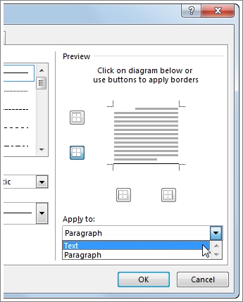 the apply to drop down menu in the borders and shading dialog box