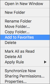 Add to Favorites option on context menu