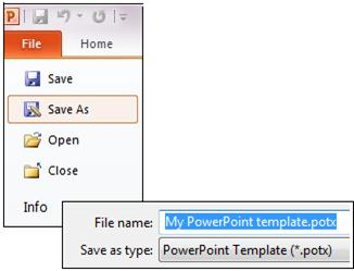 Create and save a powerpoint template powerpoint select powerpoint template potx save your presentation as a potx file toneelgroepblik Image collections