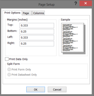 Set print options in Access - Access