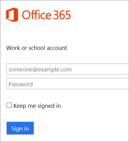 Screenshot of Office 365 sign in page.