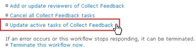 Update active tasks of Approval link on Workflow Status