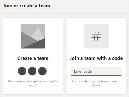 Enter a team code in the Join a team with a code tile