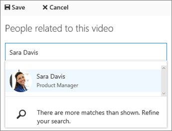 Associate a video with a person in your organization.