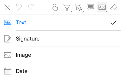 OneDrive for iOS PDF Markup Text Menu