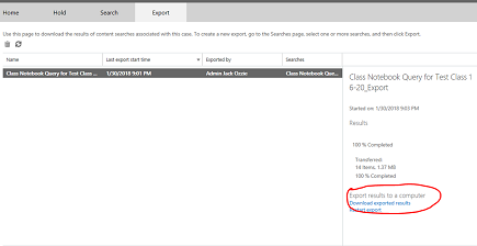 Download exported results