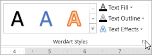 Selecting the WordArt Styles dialog box launcher