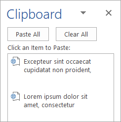 Shows the Clipboard task pane with copied contents